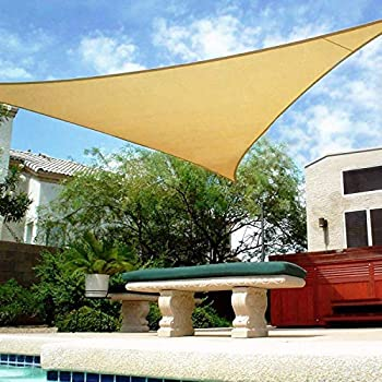 Shade&Beyond 16  x 16  x 16  Sand Color Triangle Sun Shade Sail for Patio UV Block for Outdoor Facility and Activities