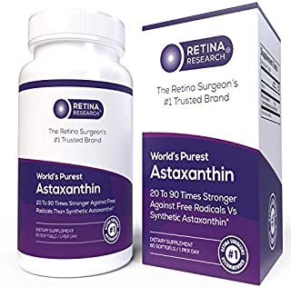 Astaxanthin 10mg - World's First Certified Organic Astaxanthin Supplement - Natural Astaxanthin Extracted from Haematococcus Pluvialis Algae - Made in USA - by Retina Research