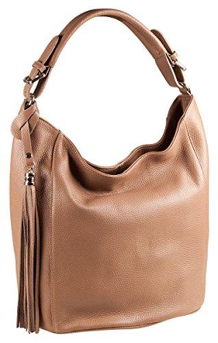 PELLE ITALY Shopper Tasche Leder PI10094 Damen Beuteltasche Echtes Leder 32x30x15 cm (BxHxT), Farbe:Taupe