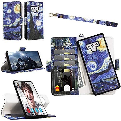 Samgg Galaxy Note 9 Magnetic Detachable Wallet Case with Wrist Strap, [2-Way Kicktand] [Magnetic Closure] [Card Slot], Durable Leather Folio Flip Cover for 6.4