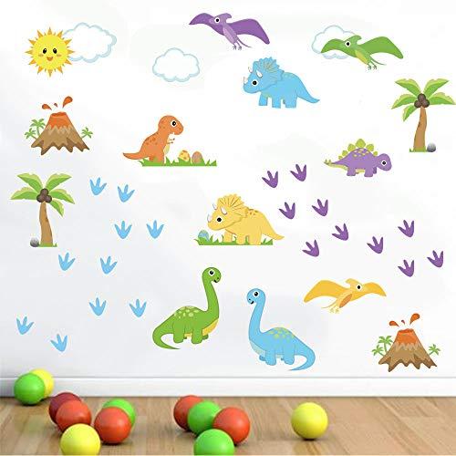 decalmile Pegatinas de Pared Dinosaurio Colorido Vinilos Decorativos Palma Árbol Adhesivos Pared Habitación Infantiles Niños Bebés Guardería Salón