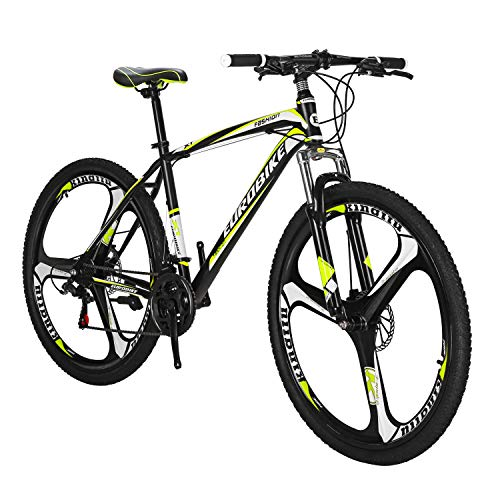 Eurobike X1 Mountain Bike 21 Speed 27.5 Inch K Wheels Dual Disc Brake Mountain Bicycle Black Yellow