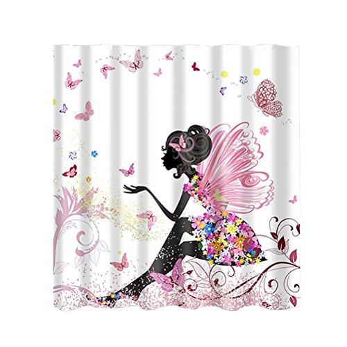OUNONA wasserdichte Duschvorhang Rosa Blume M?dchen mit Duschvorhangringe