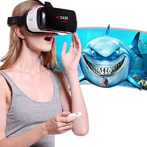 EUNN AS6 VR CASE RK-6. 3D Virtual Reality Brille mit Bluetooth Fernbedienung for iPhone, Samsung, Huawei, Xiaomi, 4,7 Zoll - 6 Zoll Android & iOS Smartphone