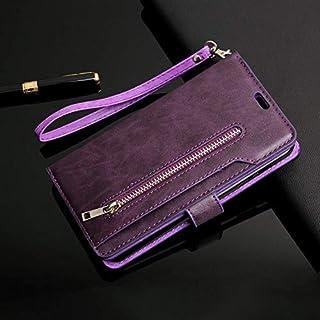 URFEDA Compatibel met Galaxy A10S Telefoon Case Cover Negen Card Slot Portemonnee PU Lederen Cover met Rits Folio Flip Boo...