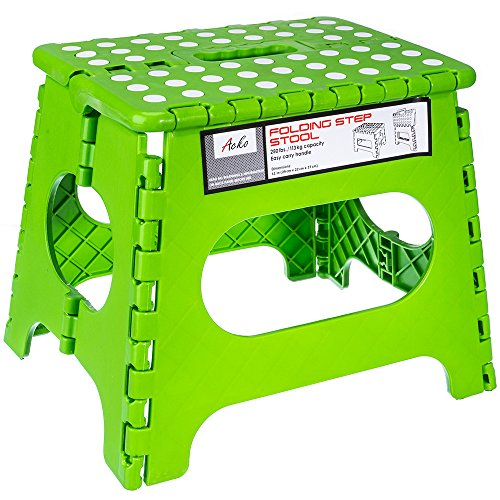 Acko Green 11 Inches Non Slip Folding Step Stool for Kids and Adults with Handle, Holds up to 250 LBS