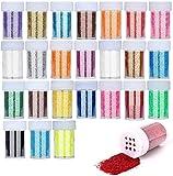 FOGAWA 24 Botes de Purpurina Manualidades Colores para Uñas con Tapa Perforada Purpurina de Glitter para Uñas 24 Colores Set de Brillantina en Polvo para Maquillaje y Decoración de Paple DIY