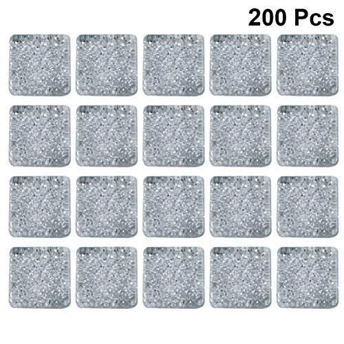Exceart 200G Glasmozaïek Tegel Kralen Glitter Losse Kralen Halfedelstenen Spacer Kralen Kristal Losse Kralen Voor Armband Oorbel Sieraden Maken Zilver