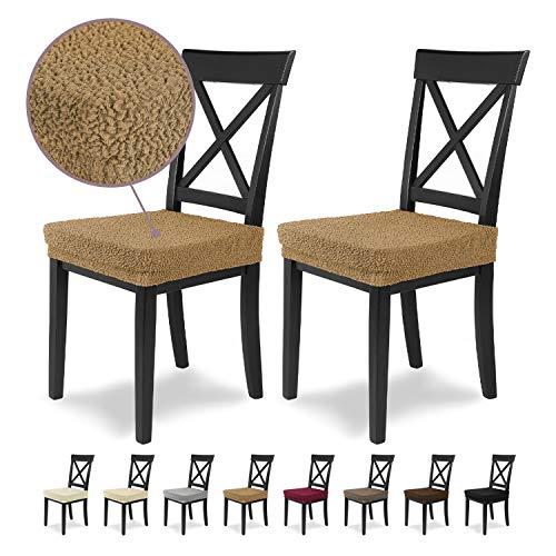 Housses de siège SCHEFFLER-Home Jacquard Lea 2 Set, élastiques Couverture Spandex, revêtement de Chaise siège, Beige