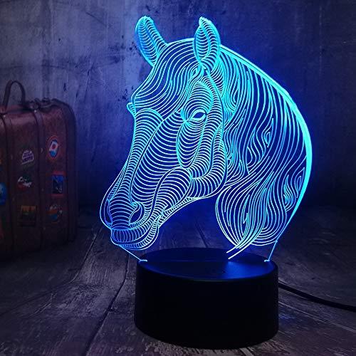 Tianyifengg LED Nachtlicht-3D Vision-Sieben Farben-Fernbedienung-Pferd Licht Wickeltisch Nachtlicht...