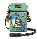 CHALA Bolso Bandolera para teléfono Celular-Bolso Multicolor de Cuero PU para Mujer con Correa Ajustable - Bluebird - Verde Azulado