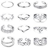 Jstyle 12Pcs Adjustable Toe Rings for Women Girls Various Types Band Open Toe Ring Set Women Gift Jewelry