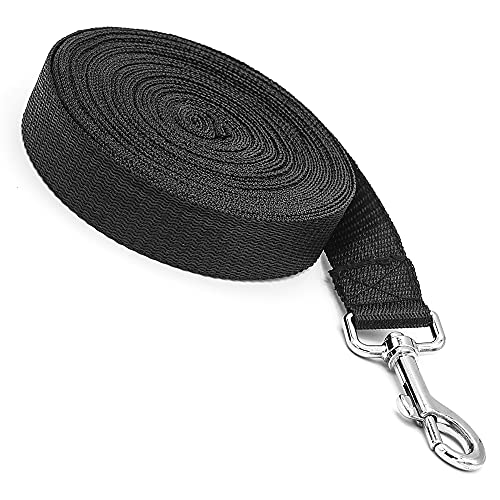 Dog Training Lead Leash Extra Long Line,10m Nylon Leash for Large Medium & Small Dogs Great for Pet Recall Training Obedience, Play, Running, Camping Backyard Strong lead with Metal Components (Black)