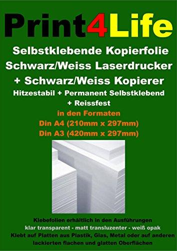 10 Blatt DIN A4 SELBSTKLEBENDE matt transluzente Reissfeste Standard-Laser-Klebefolien ! Selbstklebende S/W Laser- und Kopierer Folien in matt transluzenter Ausführung mit farblosem, nicht vergilbendem, hitzestabilem Kleber. Die rückseitige Abdeckung ist seitlich geschlitzt, um das Abziehen des Abdeckmaterials zu erleichtern.