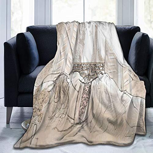 ELIENONO Soft Fleece Überwurfdecke,Paris Pariser Frau, die mit dem Blick des Eiffelturms vom Fenster Romance Skecthy Modern schläft,Home Hotel Bed Couch Sofa Überwurfdecken für Paare Kinder Erwachsene