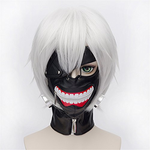 LanTing Cosplay Perücke Tokyo Ghoul Ken Silver White Perücke Corta Styled Frauen Cosplay Party Fashion Anime Human Costume Full wigs Synthetic Haar Heat Resistant Fiber