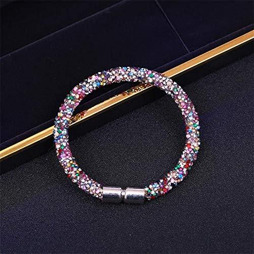 XIANNU Damen Armband,Star Crystal Mesh Cuff Bracelet Für Frauen Mit Kristall Steinen Gefüllt Charme Armbänder Armreifen Cognac