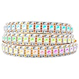BTF-LIGHTING WS2813 (Upgraded WS2812B) 3.2ft 144 Pixels Magic Dream Color Individually Addressable RGB LED Flexible Strip Light 5050 SMD Dual Signal Wires IP30 Not Waterproof DC 5V White PCB