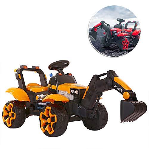 MMYYIP Vier Kinder Bagger Bagger Elektro-Auto 12V Autogurt Bremspedal Für 2-8 Jahre Alten Jungen Und Mädchen,Orange