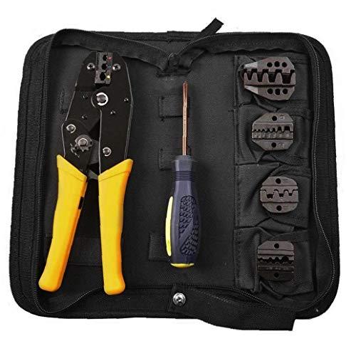 TOPofly Ratschen Drahtcrimper Ratchet Terminal-Stecker Crimp-Zangen-Tool-Kit mit Schraubendreher Auswechselbare Dies Praktische Werkzeuge