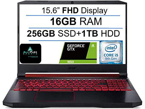 2020 Newest Acer Nitro 5 15.6 FHD Gaming Laptop, 9th Gen Intel Quad Core i5-9300H, NVIDIA GeForce GTX 1650, 16GB RAM, 256GB SSD+1TB HDD, WiFi 6, MaxxAudio, Backlit Keyboard, Windows 10 +Laser MousePad