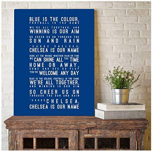 A&D Chelsea FC Inspired Song Lyrics kunst schilderij wandschilderijen blauw is de kleur Lyrics typografie canvas kunstdruk Home Decor -50x70cmx1pcs -No Frame