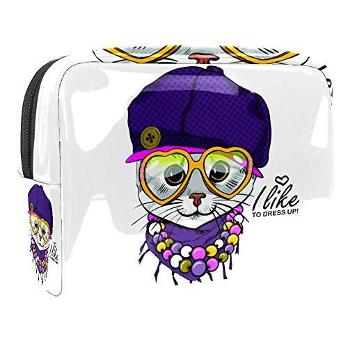 TIZORAX Sac de maquillage en PVC avec chapeau et collier en violet