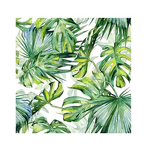 HZLGFX Papel Pintado De Hojas De Palmera Tropical De Acuarela, Papel Tapiz Extraíble Autoadhesivo Pre-Pegado, Papel De Pared Despegable Y Adhesivo, 236.2 Pulgadas * 17.7 Pulgadas