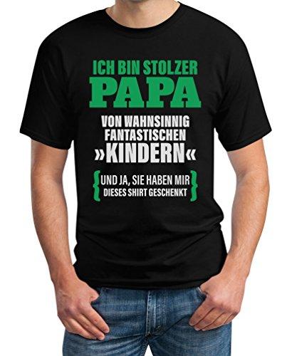 Geschenk für Vater - Ich Bin Stolzer Papa von Fantastischen Kindern T-Shirt X-Large Schwarz