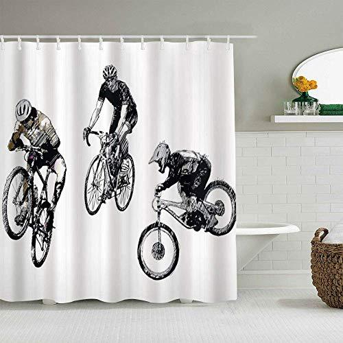 Cortina de ducha Imagen dibujada a mano incompleta de ciclistas Bicicletas con tema del Tour de Francia al aire libre Forros de baño impermeables Ganchos incluidos - Ideas decorativas para el baño