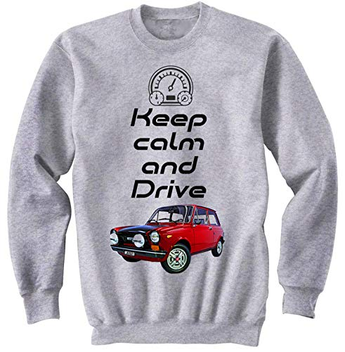 Teesandengines Autobianchi A112 Abarth Keep Calm Gris Sudadera Size Small
