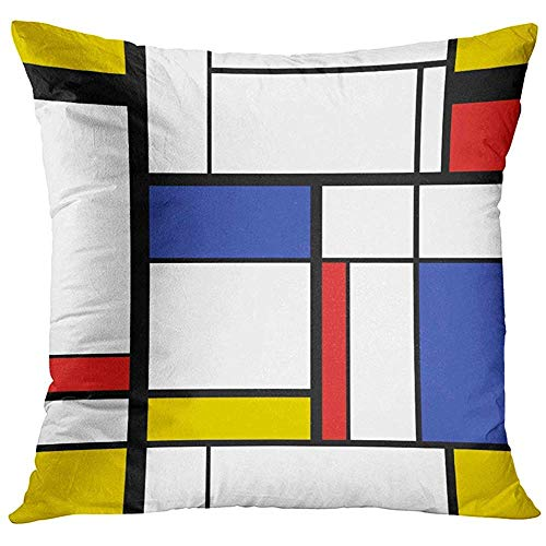 Kissenbezug Schwarz Bauhaus Abstrakte Moderne Malerei im Mondrian-Stil Blau Geometrisches Rechteck Dekorativer Kissenbezug Wohnkultur Quadratischer Kissenbezug