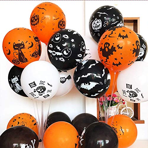 50 Pieces Halloween Latex Balloons, 12 Inch Pumpkin Bat Ghost Skull Specter Spider Web Balloons for Halloween Party Decorations, Trick or Treat Toys, School Classroom Game, Kids Hand Out