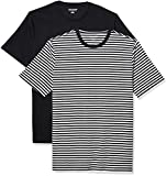 Amazon Essentials Men's 2-Pack Slim-Fit Short-Sleeve Crewneck T-Shirt, Black-White Stripe/Black, Medium
