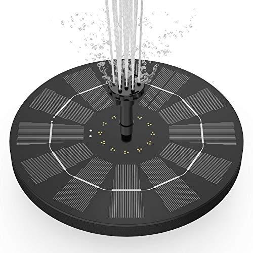 AISITIN Fuente Solar Bomba 3.5W Fuente de Jardín Solar Panel Solar Flotante de Batería Incorporada de 1500mAH con 6 Boquillas Muy Adecuado para Pequeños Estanques Decoración de Jardines