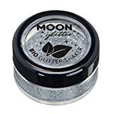 Saleros de Purpurina Eco Biodegradable de Moon Glitter - Purpurina 100% Cosmética Bio para Cara, Cuerpo, Uñas, Pelo y Labios - 5g - Plata