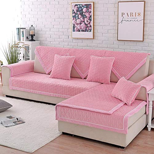 YUTJK Original Couch Slipcover Furniture Protector,Any Seater Sofa,Machine Washable Slip Cover,Thick Crystal Plush Sofa Mate,Sold in pieces,Pink