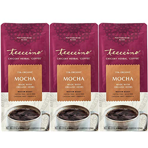 Teeccino Chicory Coffee Alternative - Mocha - Ground Herbal Coffee That's Prebiotic, Caffeine Free & Acid Free, Medium Roast, 11 Ounce (Pack of 3)
