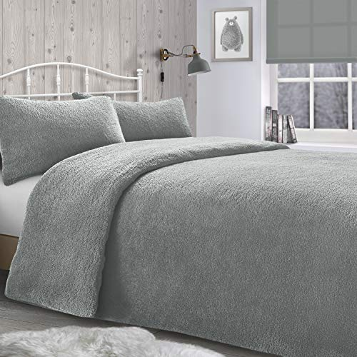 Velosso Teddy Bear Super Plush Warm Fuzzy Cuddly Fleece Thermal Bedding Set (Silver Grey, King Size)