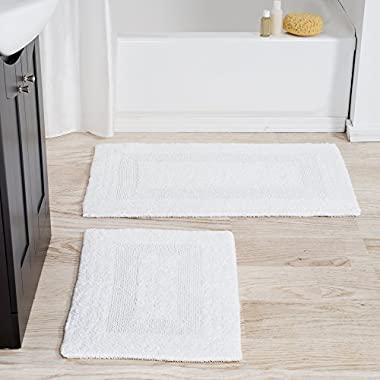 Lavish Home Cotton Bath Mat Set- 2 Piece 100 Percent Cotton Mats- Reversible, Soft, Absorbent and Machine Washable Bathroom Rugs By (White)