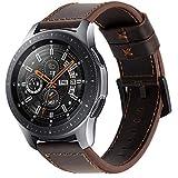 iBazal 22mm Cinturino Pelle Banda Cuoio Compatibile con Samsung Galaxy Watch 3 45mm/Gear S3 Frontier/Classic SM-R760,Galaxy Watch 46mm SM-R800, Huawei GT,Ticwatch PRO (Orologio Non Incluso) - caffè