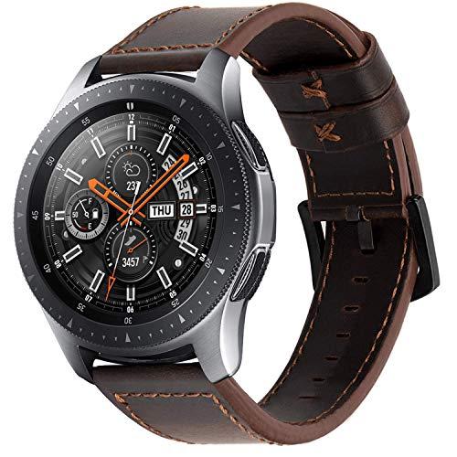 iBazal 22mm Armband Leder Uhrenarmband Armbänder Ersatz für Samsung Galaxy Watch 3 45mm/Galaxy Watch 46mm,Gear S3 Frontier/S3 Classic SM-R760/770,Huawei GT/Honor Magic/2 Classic,Ticwatch Pro - Kaffee