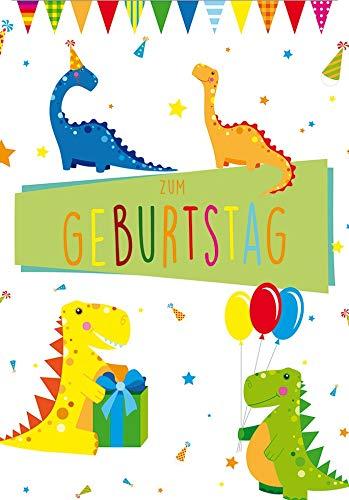 Geburtstagskarte für Kinder Basic Classic - Dinos - 11,6 x 16,6 cm