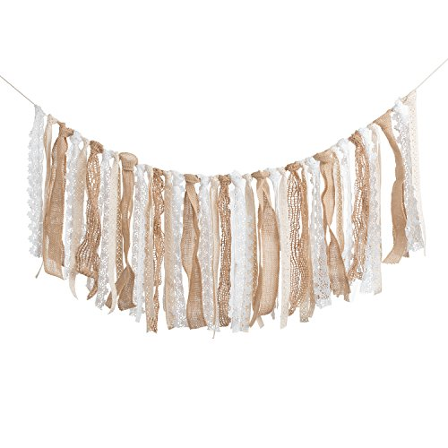 Ling's moment Fabric Burlap Lace Tassel Garland Rig Tie Banner Floral Print Decor Rustic Wedding Event & Party Supplies Shabby Chic Banner 3~11 FT