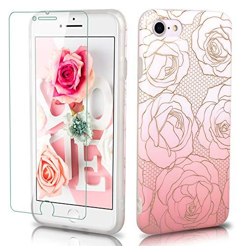 Liebecase - Carcasa de Silicona TPU para iPhone 7, 8, 7 Plus y 8 Plus, diseño de Flores y Protector de Pantalla 9H