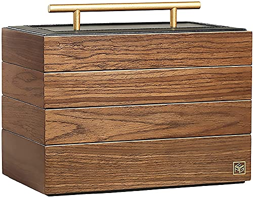 X&Z-XAOY Caja De Almacenamiento De Joyería De Madera Retro Multi-Capa Estante De Escritorio Caja De Joyería Clásica Caja De Almacenamiento Multifunción