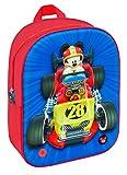 Disney- Mochila Mickey and The Roadster Racers 3D con Luz Y Sonido, Color Rojo/Azul, 32 cm (T350-055)
