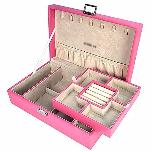 XYF Joyero Organizador de joyero Doble de Piel Caja de joyería de Lujo Ligera de Gran Capacidad Exquisita para Bodas de Alta Gama con Compartimento extraíble (Color : P, Size : 29.5x19.8 cm)