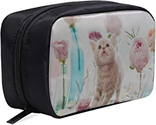 Cats Playing By Vases Portable Travel Makeup Cosmetic Bags Organizer Multifunction Case Small Toiletry Bags For Women And Men Brushes Case