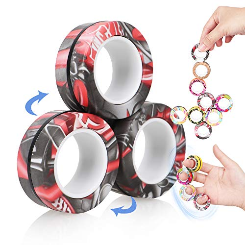 VCOSTORE Magnetic Rings Toys,3 Ring Fidget Spinners, Magnet Finger Game Stress Relief Decompression...